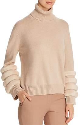 Lafayette 148 New York Mink Fur-Trim Cashmere Turtleneck Sweater