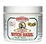 Thayer Original Witch Hazel Astringent Pads with Aloe Vera Formula, 60 Count