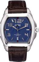 Clips Men's Quartz Watch with Blue Dial and Brown Leather Strap 548-6005-93