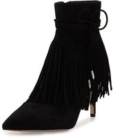 Sam Edelman Marion Pointed-Toe Fringe Bootie, Black