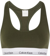 Calvin Klein Underwear Modern Cotton Stretch Cotton-blend Soft-cup Bra - Army green