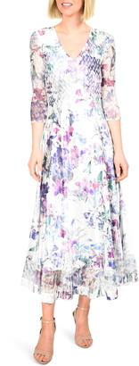Komarov Floral Charmeuse & Chiffon Dress