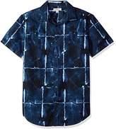 Calvin Klein Jeans Men's Short Sleeve Button Down Shirt Abstract Grid Print