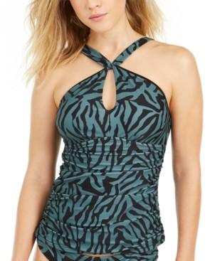 Bar III Zebra Print High-Neck Keyhole Tankini Top, Created for Macy's Women's Swimsuit