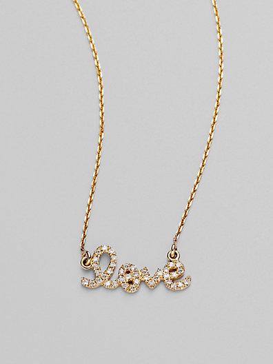 Sydney Evan Diamond & 14K Yellow Gold Necklace/Love