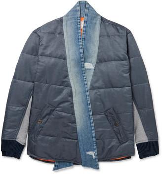 Greg Lauren Distressed Denim-Trimmed Embroidered Panelled Shell And Jersey Bomber Jacket