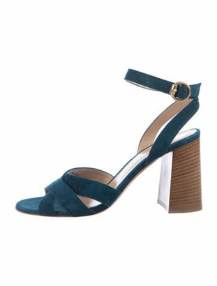 Gianvito Rossi Suede Cutout Accent Sandals Blue