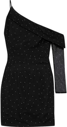 Mason by Michelle Mason One-sleeve Polka-dot Silk-chiffon Mini Dress