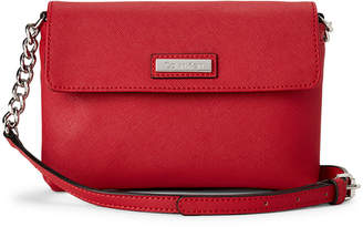 Calvin Klein Red Faux Saffiano Leather Crossbody