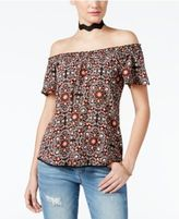 Belle Du Jour Juniors' Off-The-Shoulder Necklace Top