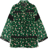 Anna Sui Lace-trimmed Floral-print Silk-crepon Blouse - Black