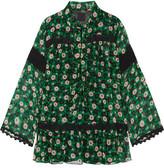 Anna Sui Lace-trimmed Floral-print Silk-crepon Blouse - Black
