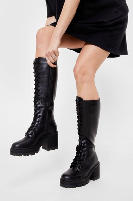 Nasty Gal Womens Lace-Up to It Knee High Heeled Boot - Black - 3