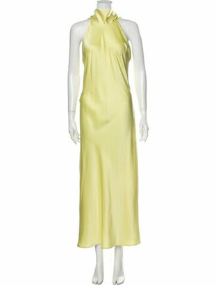 Galvan Halterneck Long Dress w/ Tags Yellow
