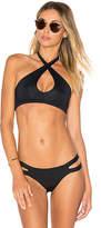 Vitamin A Camilla Cross Neck Top in Black. - size L (also in M,S,XS)