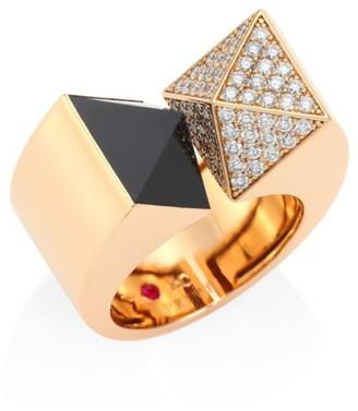 Roberto Coin Sauvage Prive Pyramid Diamond, Black Jade & 18K Rose Gold Ring