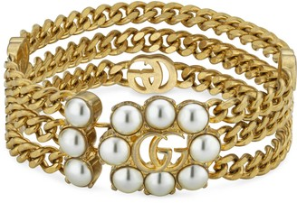 Gucci Pearl Double G layered bracelet