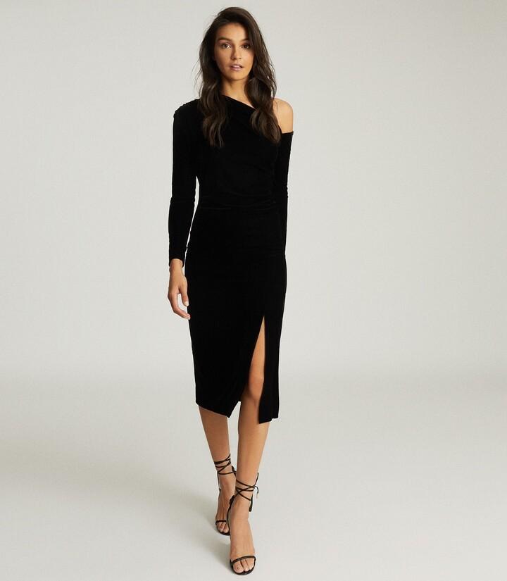 Reiss Bella - Velvet Midi Dress in Black