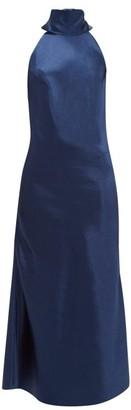 Galvan Sienna Halterneck Satin Midi Dress - Navy