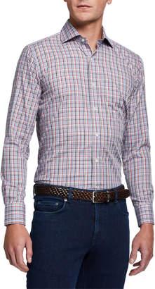 Peter Millar Men's Multicolored Small-Check Long-Sleeve Sport Shirt