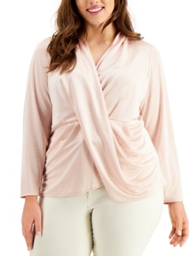 Alfani Plus-Size Draped Pullover Top, Created for Macy's
