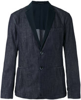 Emporio Armani faille-trimmed denim blazer - men - Cotton/Polyester - L