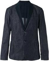 Emporio Armani faille-trimmed denim blazer - men - Cotton/Polyester - M