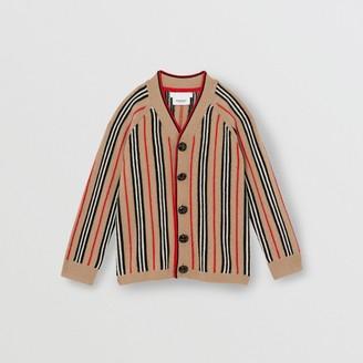 Burberry Childrens Icon Stripe Wool Cashmere Cardigan