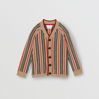 Burberry Icon Stripe Wool Cashmere Cardigan