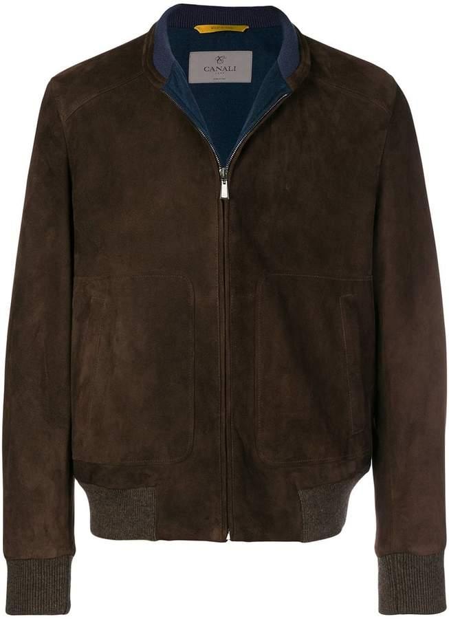 Canali leather bomber jacket