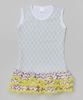 Tutus by Tutu AND Lulu Gray Lattice & Green Ruffle Tank Dress - Infant & Kids