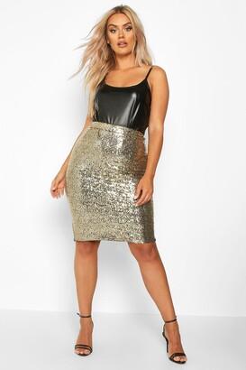 boohoo Plus Sequin Midi Skirt