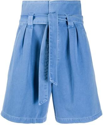 Temperley London Fontana paperbag-waist high-rise denim shorts