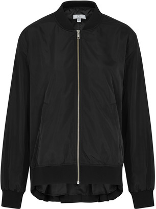 Clu Black faille bomber jacket