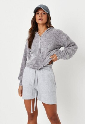 Missguided Petite Gray Co Ord Chenille Zip Up Hoodie