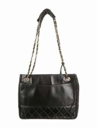 Chanel Vintage Quilted Leather Tote Black