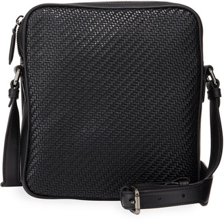 Ermenegildo Zegna Men's Pelle Tessuta Small Reporter Crossbody Bag