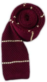 Tie Bar Knit Stripe Burgundy Tie