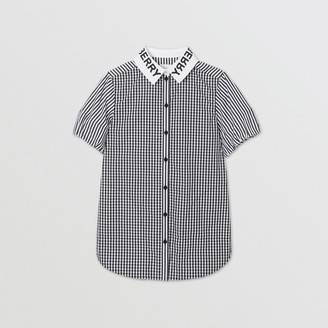 Burberry Logo Print Striped and Gingham Cotton Shirt Dress