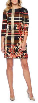Liz Claiborne 3/4 Sleeve Striped Leaf Print Shift Dress