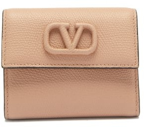 Valentino V-sling Grained-leather Wallet - Nude