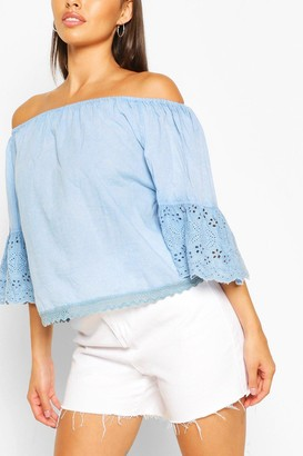boohoo Off The Shoulder Eyelet Trim Woven Top