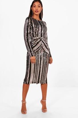 boohoo Boutique Lara Stripe Sequin Midi Dress