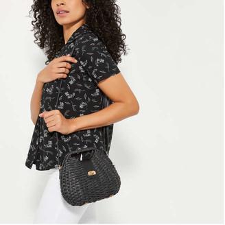 Joe Fresh Women's Straw Crossbody Bag, Black (Size O/S)