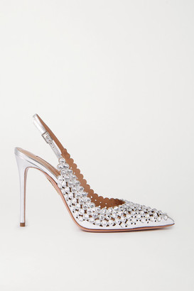 Aquazzura Tequila 105 Crystal-embellished Metallic Leather Slingback Pumps - Silver