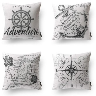 "Phantoscope Ocean Series Decorative Throw Pillow Covers, Sky Blue Sailing, 18"" x 18"", set of 4"