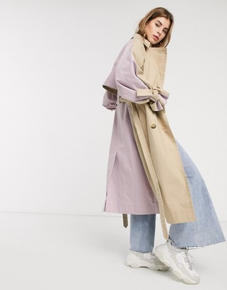 ASOS DESIGN color block tie sleeve trench coat in stone