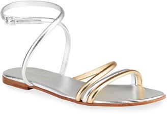 Gianvito Rossi Beka Flat Metallic Strappy Sandals