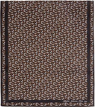 Kenzo Black and Brown Silk Monogram Scarf