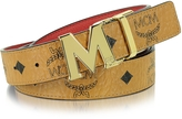 MCM Color Visetos Cognac/Red Coated Canvas Reversible Belt